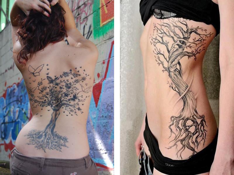 Татуировка древо жизни на спине и на боку